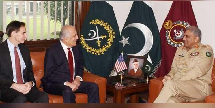 دیدار فرمانده ارتش پاکستان با خلیل زاد؛ مذاکرات صلح محور رایزنی